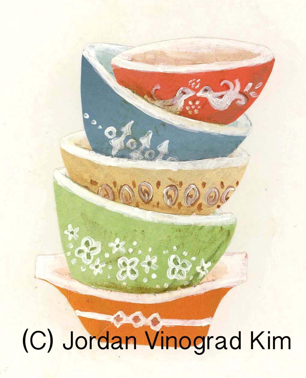 Jordan Vinograd Kim mixed media collage vintage kitchen stacked bowls