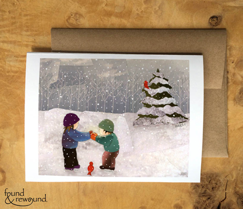 Mixed media collage of children in the snow looking at a glowing object together.