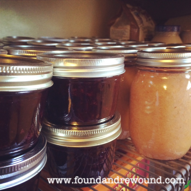 blueberry jam and apple and pear sauce home made canning