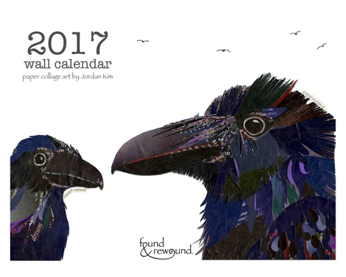 2017 wall calendar featuring original mixed media collages by Jordan Kim.