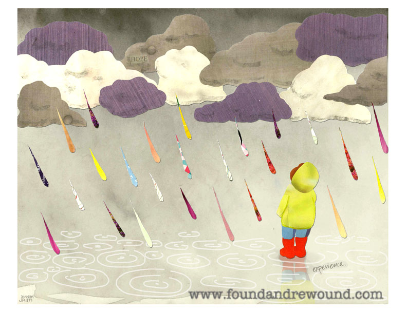 Mixed media collage of a child looking up at grey clouds and rainbow raindrops.