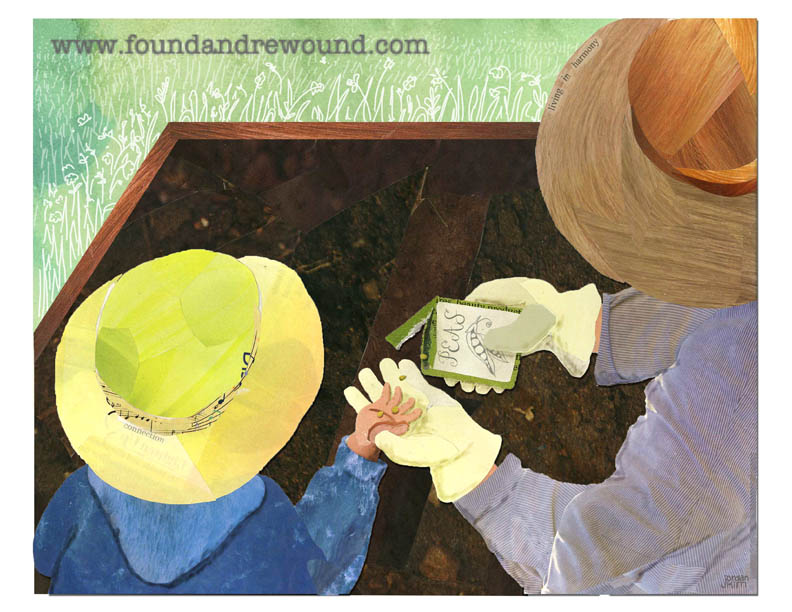Mixed media collage of a mother and child planting seeds together in the garden.