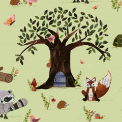 Forest Friends Fabric – Tree Feature