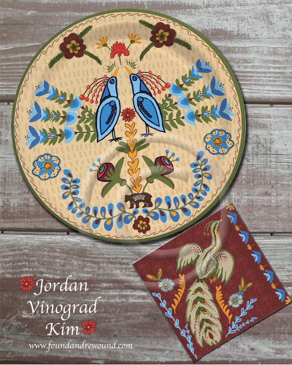 Jordan Kim folk art partyu paper plate and napkin design