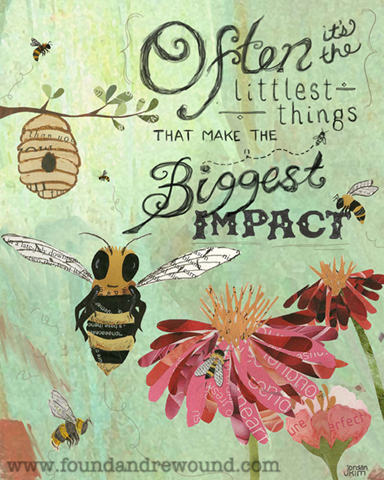 Jordan Kim, mixed media art, honey bee art, paper collage, eco art, garden art, inspirational art