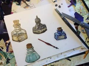 Jordan Kim vintage ink bottle collage