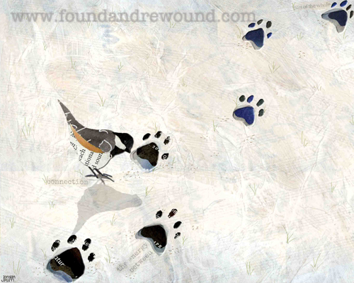 Mixed media collage of a bird foraging in footprints in the snow.