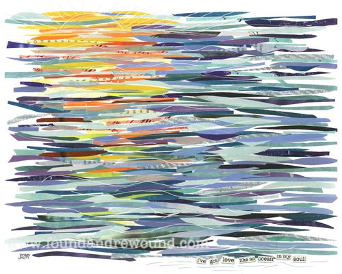 Abstract Ocean Art | Mixed Media Art of an Ocean Sunset