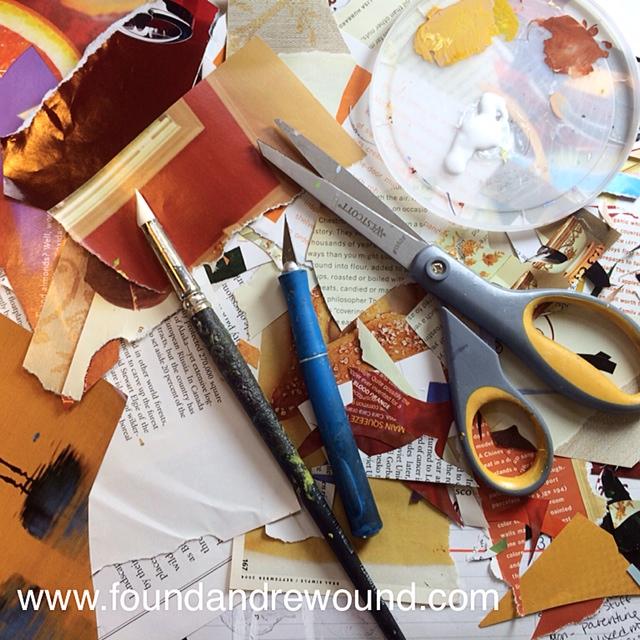 Jordan Kim collage paper art scissors glue