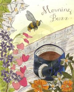 Jordan Kim Morning Buzz 2014 mixed media collage coffee bee