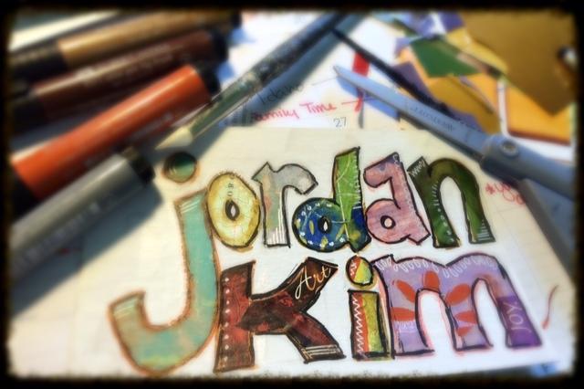 Jordan Kim name collage logo in progress