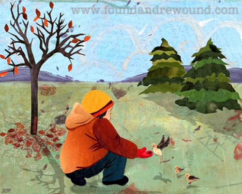 Mixed media collage of a child feeding birds with fall leaves and purple hills in the background.