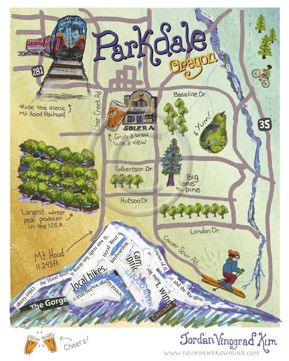 Jordan Kim mixed media collage Parkdale, Oregon  map