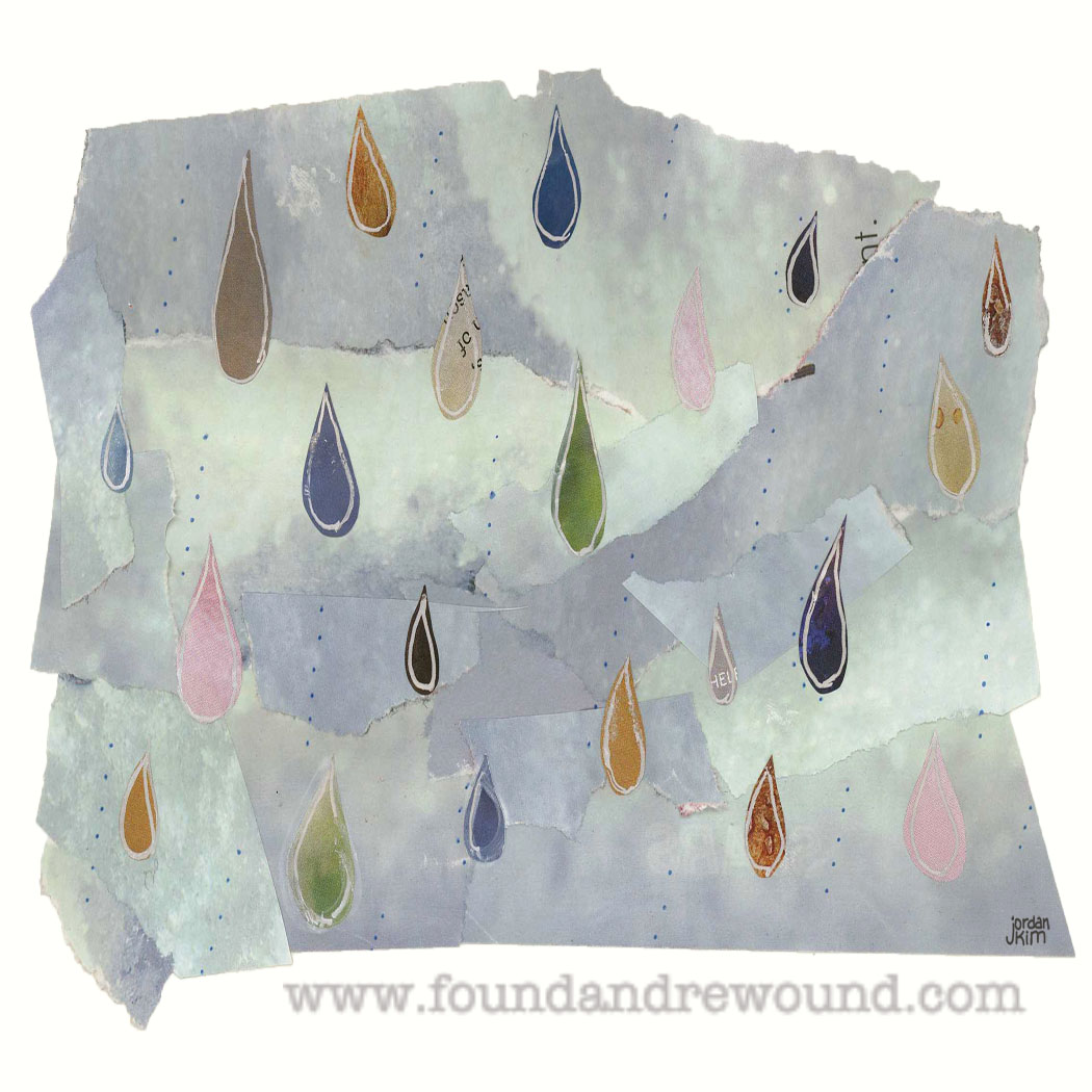Jordan Kim paper collage raindrops, rain, peace pics