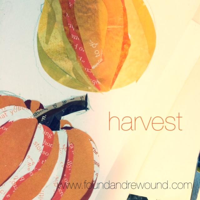 Jordan Kim mixed media paper collage art harvest pumpkin process pic
