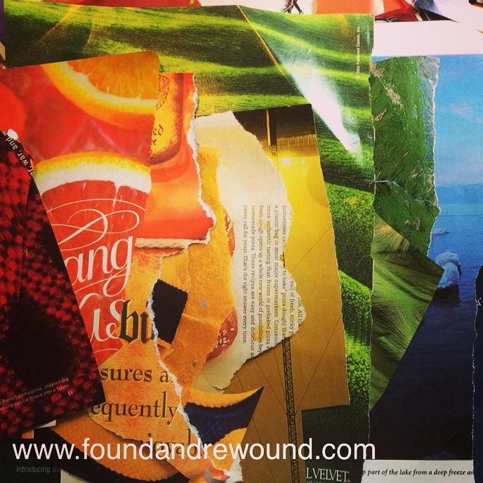 Jordan Kim torn paper rainbow colors mixed media art  paper collage