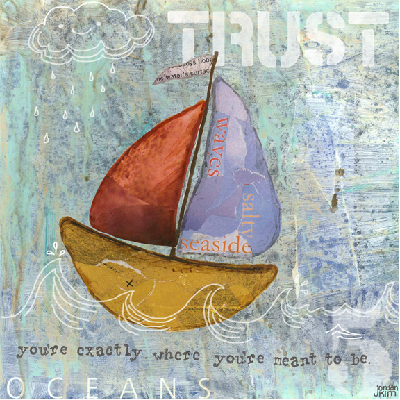 Jordan Kim trust sailboat nautical wall art mixed media collage