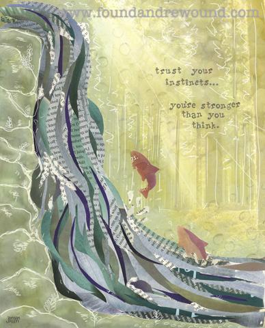 Salmon Art | Mixed Media Collage of Salmon Running