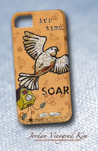 Jordan Vinograd Kim Soar Little Cuckoo mixed media collage cell phone case design